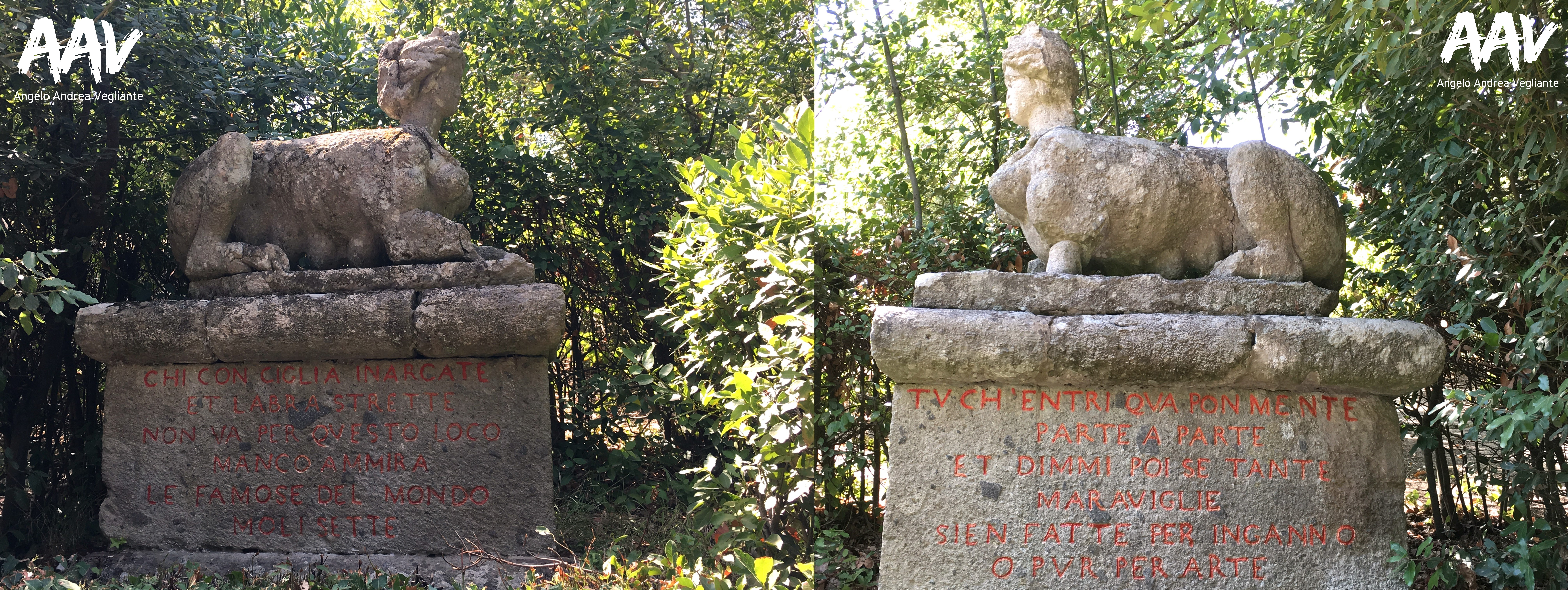 sfingi-parco dei mostri-bomarzo-viterbo-angelo andrea vegliante-colui che veglia-viaggia