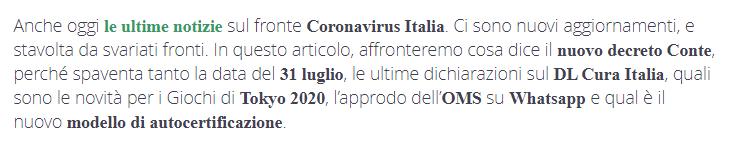 primo paragrafo articolo sul coronavirus